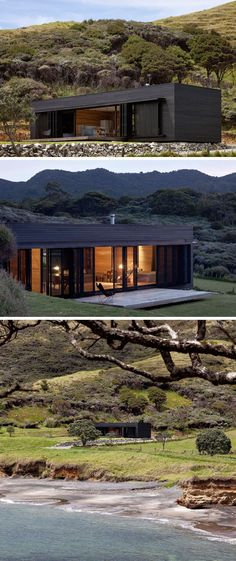 13 Totally Secluded Homes To Escape From The World // The Storm Cottage by Fearon Hay Architects has been designed to be completely off the grid. Located in a remote location on Great Barrier Island in New Zealand, this secluded place would be great for a Modern Exterior, Exterior Design, Modern House Design, Future House, Building A House, Building Ideas, Architecture Design, New Zealand Architecture, New Homes