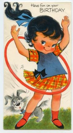 Girl playing with Hula Hoop vintage greeting card birthday cute summer theme
