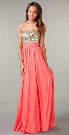 Jeweled Bodice Long Coral Prom Dress Chiffon Strapless Sweetheart $224.99
