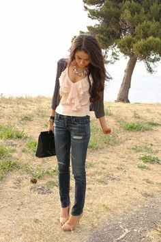 Ruffled tank with jeans, studded jacket & cute accessories