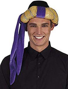 Adult Aladdin  Prince Sultan Genie Gold Lame Turban Swami Costume Hat