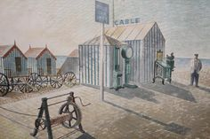 """""""Bathing Machines, Aldeburgh"""" (Suffolk) by Eric Ravilious, 1938 I have just seen this at the Dulwich Picture Gallery. They have a new exhibition on Eric Ravilious. Masterful."""