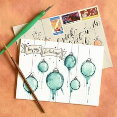 This #throwbackthursday photo shows a holiday card concept I introduced in a TPK tutorial last year. It's one of my very favorites because it does a great job of evoking the holiday spirit in a creative way! To create it, you'll just need some watercolor paper, watercolors, a dip pen + ink, and a bit of lung power! You can check out the link in my profile to see the tutorial. :) #artwork #art #arttutorial #tutorial #artblog #watercolor #watercolour #artproject #moderncalligraphy #calligraphy…