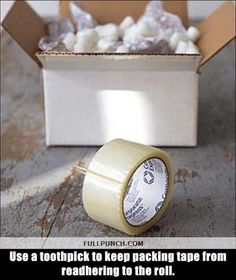 Use a toothpick to keep packing tape from readhering to the roll. (And is there a reason why this won't work with all the other tapes?)