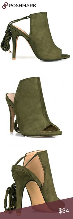 Olive Tie-Up Heels Tie-Up heels with open ankle and PeepToe. They offer a cushioned insole for added comfort! Also available in Black and Grey! Shoes Heels