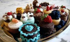 Cake Sachets by Norma Lynn Hood Lot's of cakes and sweets to make Crochet Cake, Crochet Food, Cute Crochet, Crochet For Kids, Crochet Crafts, Crochet Dolls, Food Patterns, Felt Food, Play Food