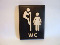 Funny wooden black bathroom sign, fancy toilet sign for your restroom door, original restroom door decor.