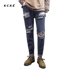 >> Click to Buy << 2017 New Fashion Gray Ripped Jeans Men Skinny Distressed Denim Joggers With Holes Torn Destroyed Jean Pants Male Brand Designer #Affiliate