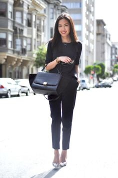 relaxed fit top, black, cropped trousers, tucked in