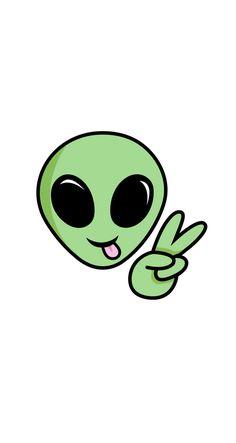 ALIEN Sticker by kateillustrates Alien Drawings, Mini Drawings, Cute Little Drawings, Cool Art Drawings, Doodle Drawings, Doodle Art, Easy Drawings, Pintura Hippie, Doodles Bonitos
