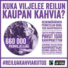 Reilun kaupan kahvin kampanja. Design: Kide. #ReiluaKahviaKiitos #ReiluKauppa #FairTrade #ThePowerOfYou