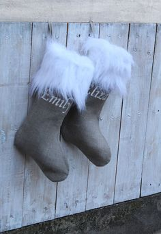Grey Christmas Stocking Grey Stocking Fur by ZillioneParty on Etsy