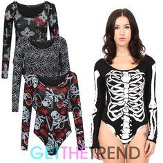 Womens halloween #skeleton print leotard top ladies bodysuit #spooky #bones top,  View more on the LINK: http://www.zeppy.io/product/gb/2/181873735212/