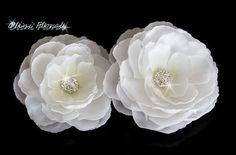 White Bridal Silk Flower with Rhinestone hair clip
