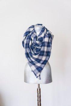 Scarf - Handmade Plaid Blanket Scarf - Cotton - Navy Blue White Denim Color - Winter Autumn Scarf - Men Women Unisex XXL Scarf
