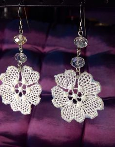 Lace earrings with Mod Podge glitter
