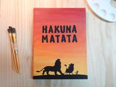 Hakuna Matata Lion King silhouette - Handmade Canvas Quote Art paintings on canvas quotes Hakuna Matata Lion King silhouette - Handmade Canvas Quote Art Disney Canvas Paintings, Disney Canvas Art, Canvas Painting Quotes, Simple Canvas Paintings, Easy Canvas Art, Small Canvas Art, Mini Canvas Art, Cute Paintings, Canvas Quotes