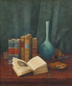 "Still Life with ""Poems by Cowper."" Claude Raguet Hirst (American, 1855-1942). Gouache and watercolor on board. Hirst soon became known for her depictions of a ""gentleman's table,"" complete with pipe, tobacco and well-worn books. Although Hirst has..."