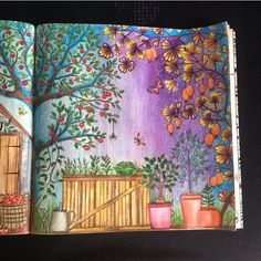 Such a unique technique Garden Coloring Pages, Secret Garden Coloring Book, Coloring Book Art, Colouring Pages, Adult Coloring Pages, Wreck This Journal, Lost Ocean, Secret Garden Book, Johanna Basford Secret Garden