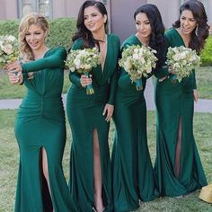 Unique Long Sleeves Sexy V Neck Mermaid Teal Green Cheap Long Bridesmaid Dresses, WG308 The dress is fully lined, 4 bones in the bodice, chest pad in the bust, lace up back or zipper back are all avai