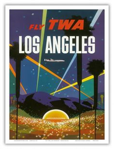 Los Angeles, California vintage travel poster