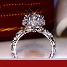 Argent 925 Fashion Femmes Bijoux Princesse Coupe Émeraude Bague de mariage Taille 6-10
