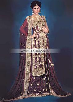 BW6406 Dark Maroon Sondra Red Designer Bridal Lehengas, Red Designer Bridal Chiffon Lenghas Pakistan India Bridal Wear