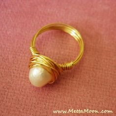 MettaMoon Gold River Pearl Love Ring NOW ON SALE www.MettaMoon.com