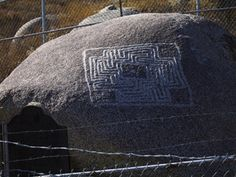 """The Maze Stone Reveals Unknown Designs    A big, striking petroglyph of unknown origin graces a small mountain area called Maze Stone County Park in Hemet, Riverside County.    Inscribed on a large boulder, the three-foot-square figure is a maze formed by four interlocking swastikas. The design is almost unknown among Indian petroglyphs, and archeologists attribute it to the so-called """"Maze Culture,"""" who left only one similar design, miles to the south in San Diego County."""