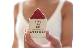 You Plus Me equals Awesome Miniature house  Gift by CeramicsByOrly