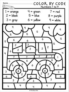 Free Kindergarten Back to School Math – Numbers 1 to 9 – Madebyteachers Free Kindergarten Math Worksheet for Back to School Time – Color By CodeUse this free worksheet during the fall or at Back To School time… Kindergarten Colors, Free Kindergarten Worksheets, Kindergarten Lesson Plans, Homeschool Kindergarten, Preschool Learning, Preschool Activities, Back To School Worksheets, Tracing Worksheets, English Kindergarten