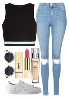 """Untitled#1436"" by mihai-theodora ❤ liked on Polyvore featuring Topshop, New Look, adidas, Lancôme, Yves Saint Laurent and Retrò"