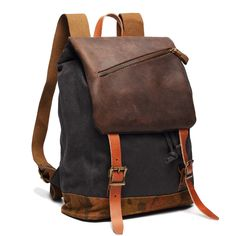 61.18$  Buy here - http://alieye.worldwells.pw/go.php?t=32692223766 - Brand vintage canvas backpack fashion men's rucksack backpack for college student genuine leather women's travel backpacks bag