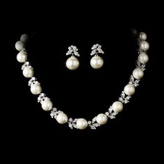 Oh so elegant Freshwater Pearl and CZ Wedding Jewelry Set - Affordable Elegance Bridal -