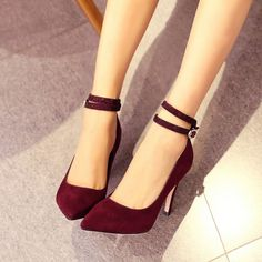Ladies Sexy Fashion Stilettos High Heel Ankle Strap Pointy Toe OL Womens Shoes_Sheloveit