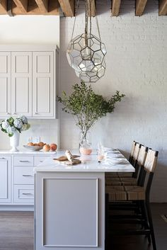 Light Gray Loft Kitchen Design - Transitional - Kitchen - Farrow and Ball Dove Tale Loft Kitchen, Home Decor Kitchen, New Kitchen, Home Kitchens, Kitchen Dining, Kitchen Lamps, Kitchen Industrial, Kitchen Modern, Kitchen Lighting