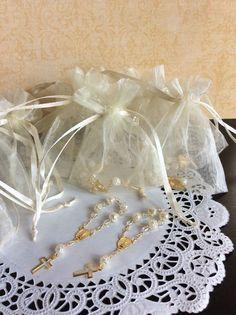 24 Mini Rosaries Organza Bag White Rosary Recuerdos de Bautizo Primera Co Favors | eBay
