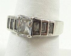 Vintage 925 Sterling Silver Faceted White Stone Ring Size 9 (5.6g) - 356528 in Jewelry & Watches, Jewelry & Watches | eBay