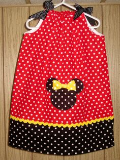 Mickey or Minnie Mouse Applique Pillowcase Dress Sizes 3 months- girls size 6 on Etsy, $30.00