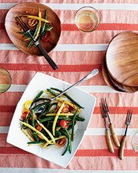 Laotian Bean-and-Tomato Salad with Roast Garlic & Roast Ginger Dressing - Recipe on Food & Wine