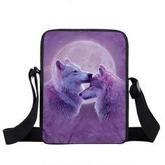 Winter Wolf Shoulder Bag Cartoon Puppy Women Handbag Teenager Howling Wolf Messenger Bags Small Crossbody Bag Kids Travel Bags