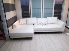Max2917- White Leather L-Shape Sofa