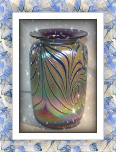 Rick Hunter \'s Textured Pulled Feather Large Iridescent Cobalt Vase. Starting at $150