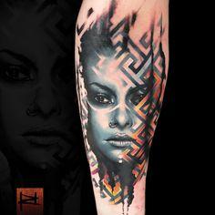 Abstract portrait tattoo by Rich Harris Feather Tattoo Design, Geometric Tattoo Design, Feather Tattoos, Lion Tattoo Sleeves, Leg Sleeve Tattoo, Cool Forearm Tattoos, Great Tattoos, Awesome Tattoos, Trash Polka