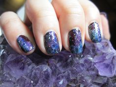 Classic galaxy manicure. #galaxynails #glittternails #notd #nailart #nailartbysig