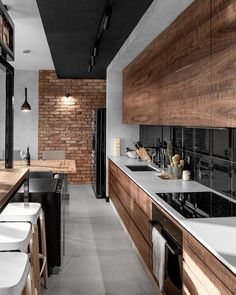 "G Ξ N T L Ξ M Λ N M O D Ξ R N™ (@gentlemanmodern) on Instagram: ""Sexy industrial Loft Design by Sikora Wnętrza. #BrickWall, Wood & #Concrete ... #gentlemanmodern…"""