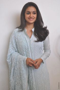Keerthy Suresh Stills at Mahanati Film Interview. Keerthy Suresh donned a pastel blue chikankari palazzo suit which she styled it with a pair of silver oxidized jhumkis and silver kolhapuri chappals. Artists For Kids, Malayalam Actress, She Movie, Beautiful Bollywood Actress, South Indian Actress, Pastel Blue, S Pic, Shades Of Grey, On Set