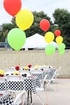cars birthday boy party balloons in red yellow and green stoplight colors