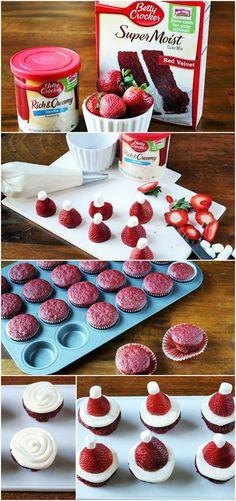 "Mini ""Santa Hat"" Red Velvet Cupcakes #bettycrocker (scheduled via http://www.tailwindapp.com?ref=scheduled_pin&post=220969)"