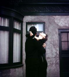 """rareaudreyhepburn:  """" Dean Martin and Audrey Hepburn share a laugh on the set of Sabrina, 1954.  """""""